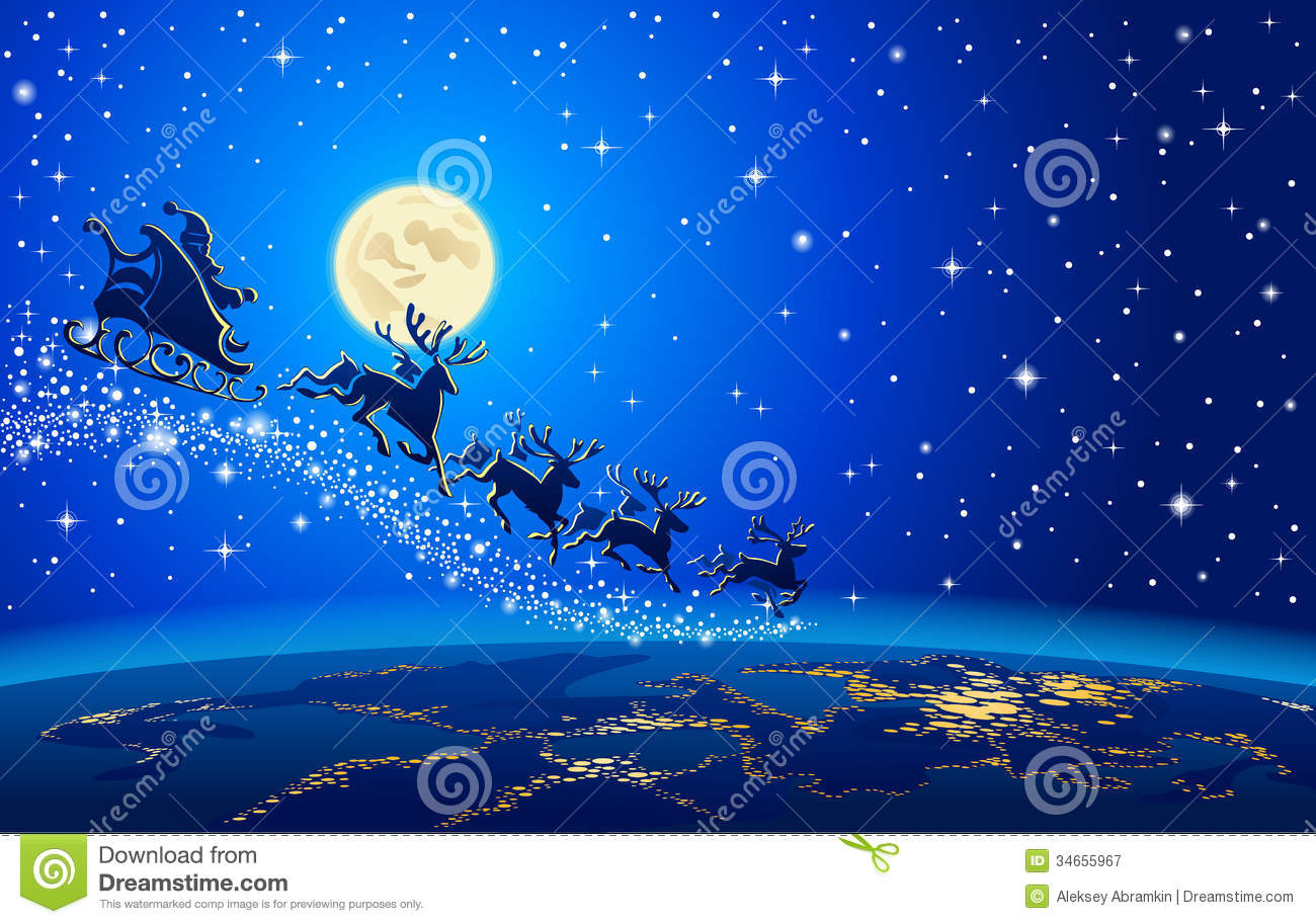 santa claus and reindeer in sky stock vector image 34655967. Black Bedroom Furniture Sets. Home Design Ideas