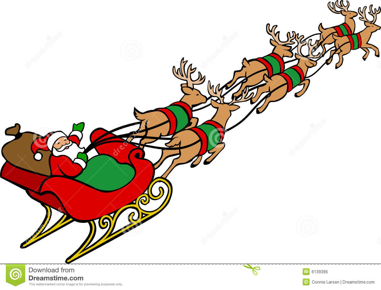 ... red-suited Christmas Santa Claus in a sleigh pulled by reindeer