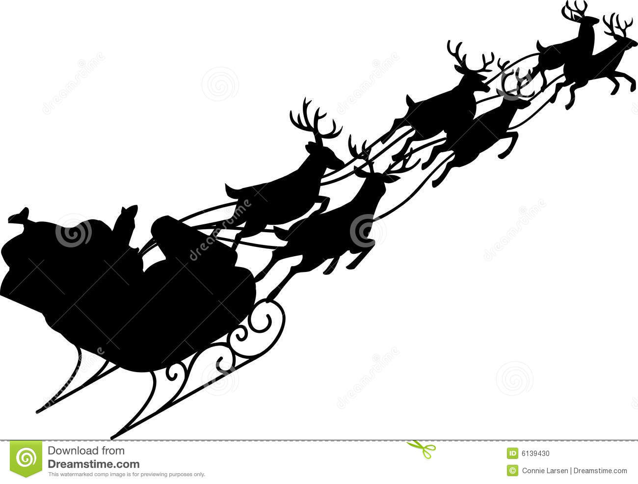 Illustration of Santa and his reindeer sleigh in silhouette.