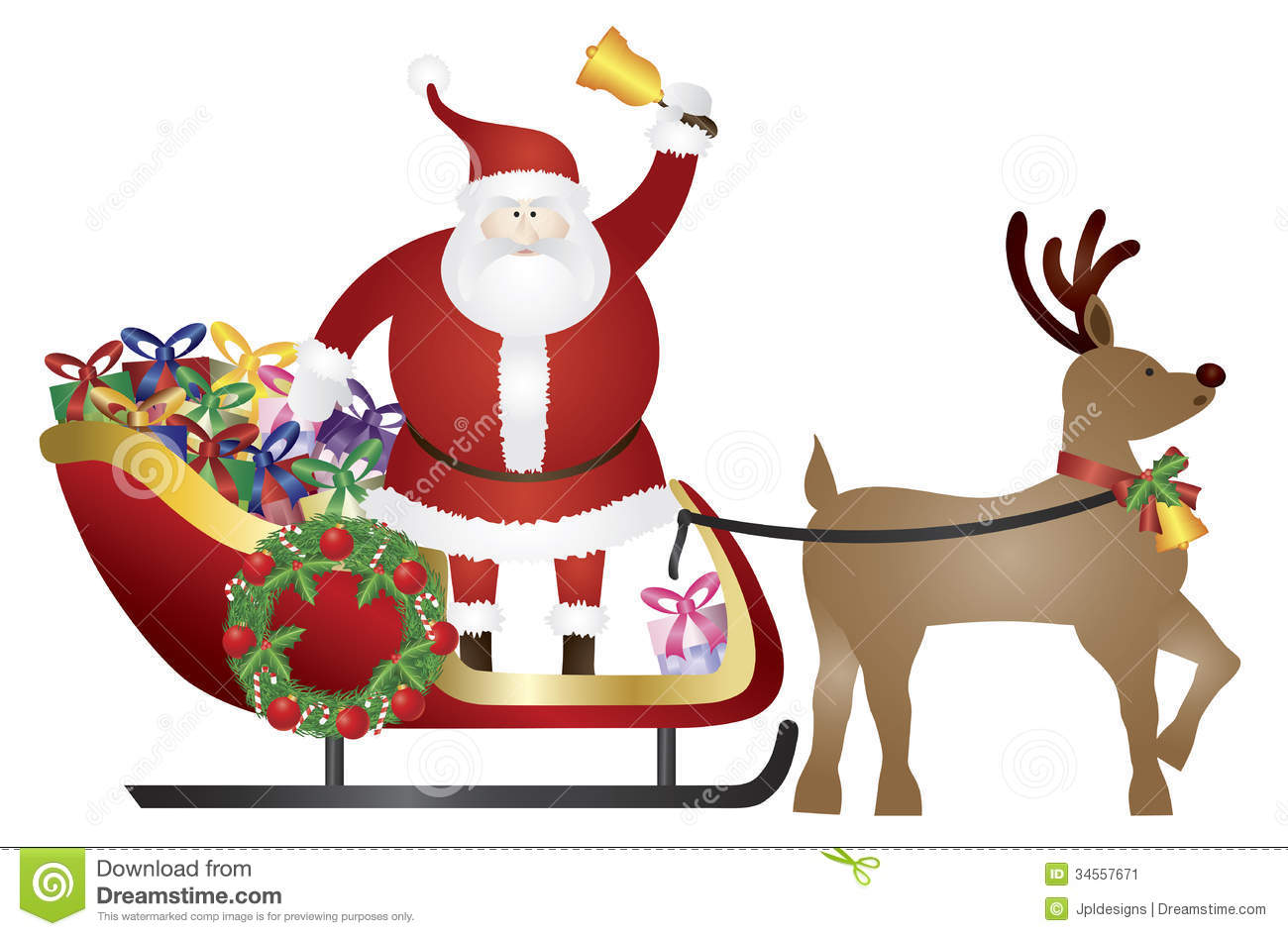 santa claus on reindeer sleigh delivering presents stock image