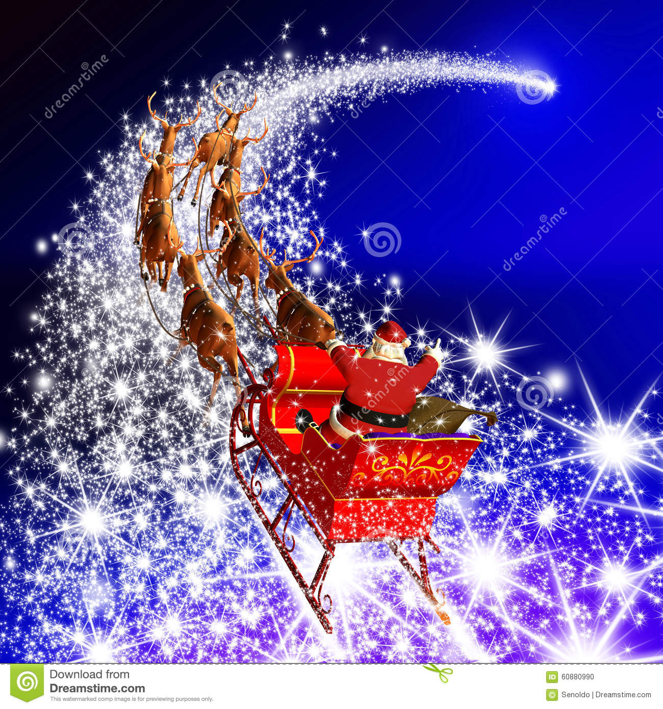 Santa Claus With Reindeer Sleigh Flying On A Falling Star ...