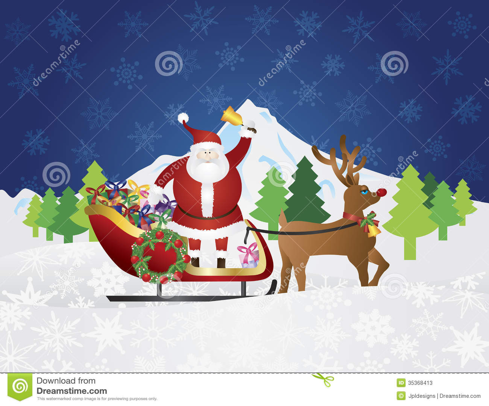 santa claus on a reindeer sleigh in christmas in night scene stock