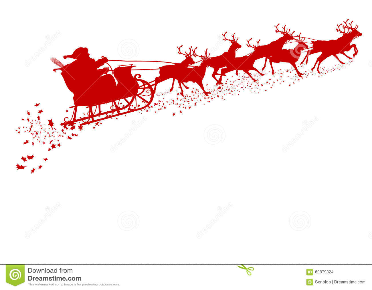 Santa Claus with Reindeer Sleigh - Red Silhouette - Outline Shape of ...