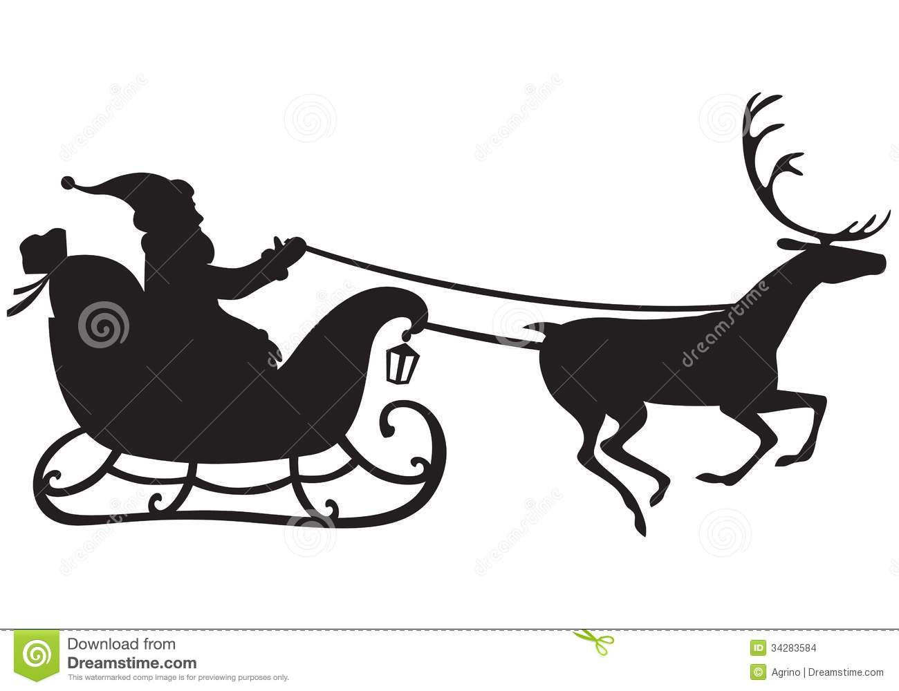 Silhouette of Santa Claus riding a sleigh pulled by reindeer, and ...