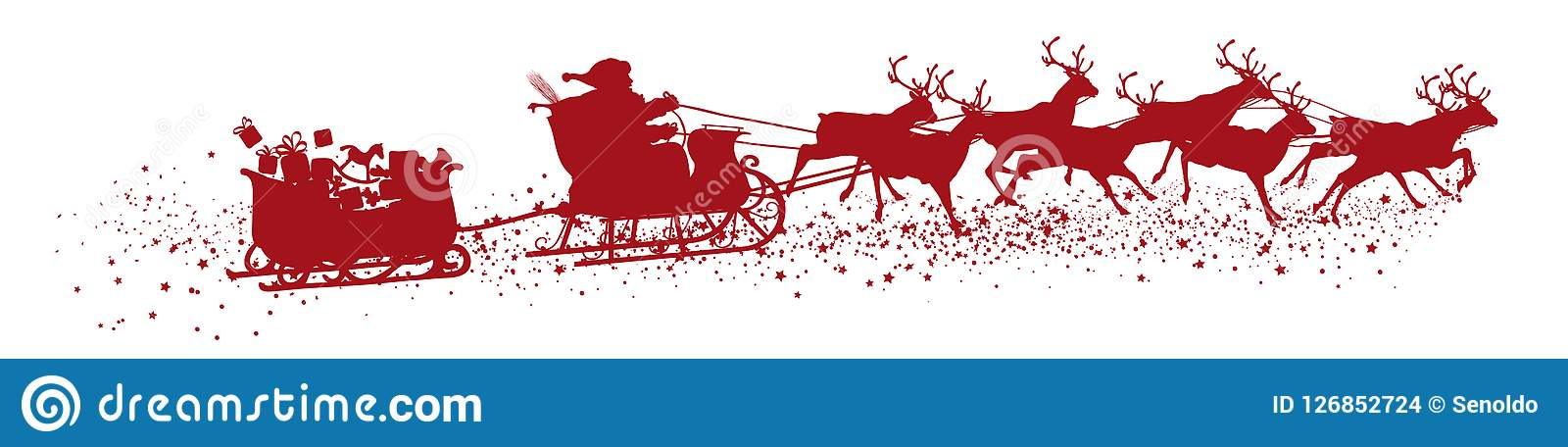 Santa Claus with Reindeer Sleigh and Trailer - Red Vector Silh