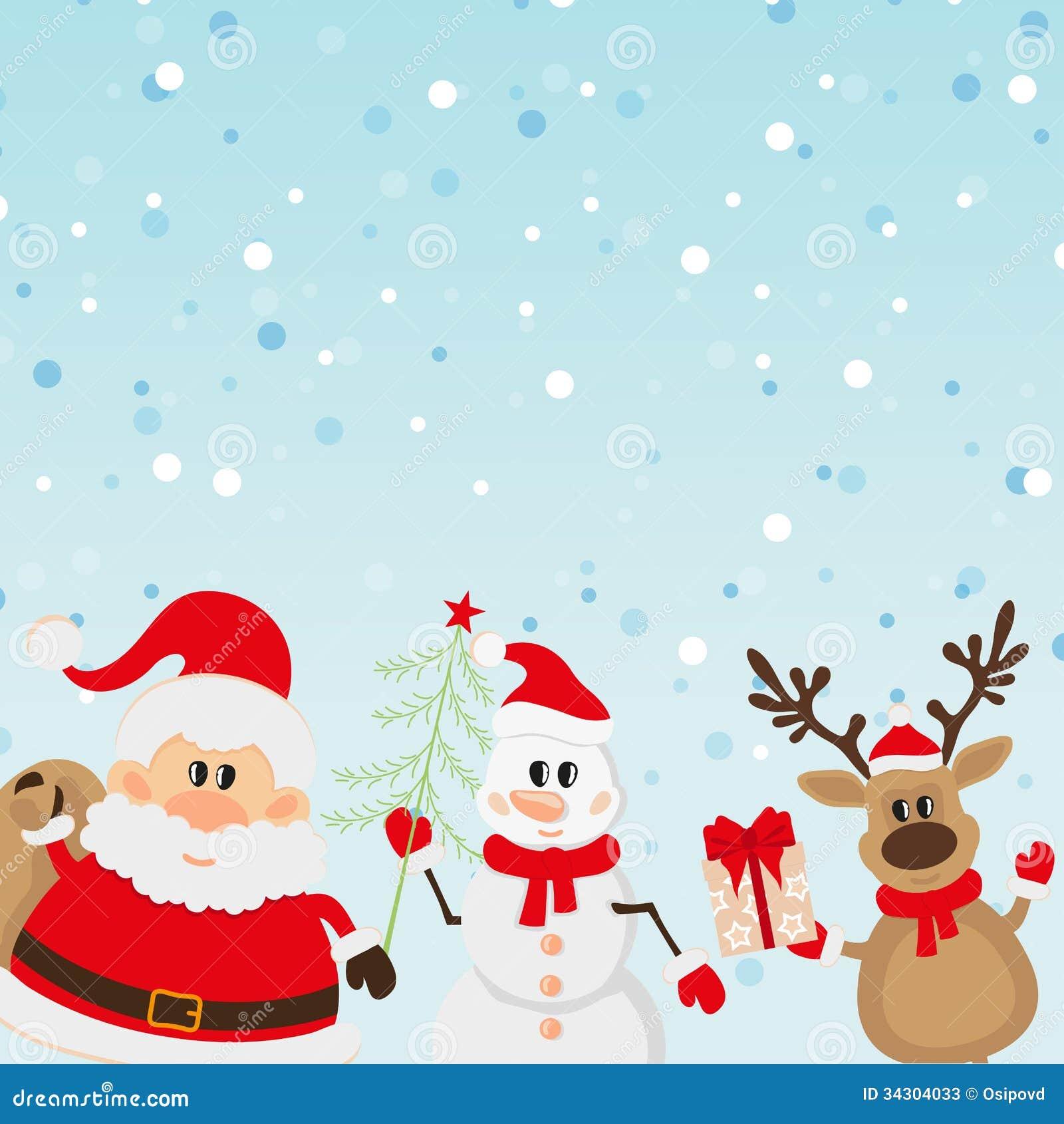 Santa claus reindeer snowman background stock photos image