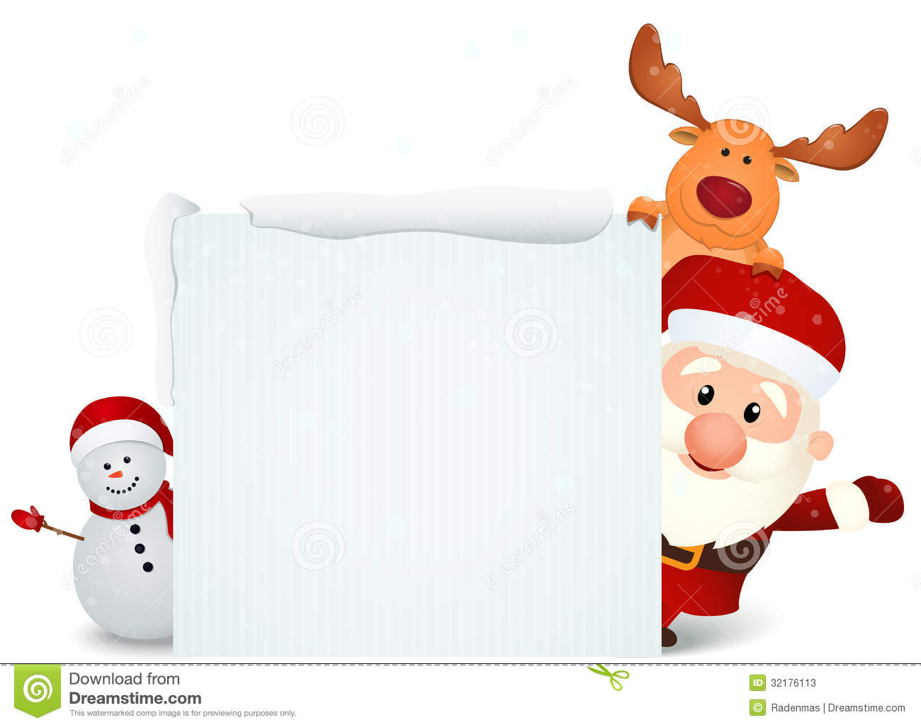 Santa Claus With Reindeer And Snowman With Blank Sign Stock Photos ...