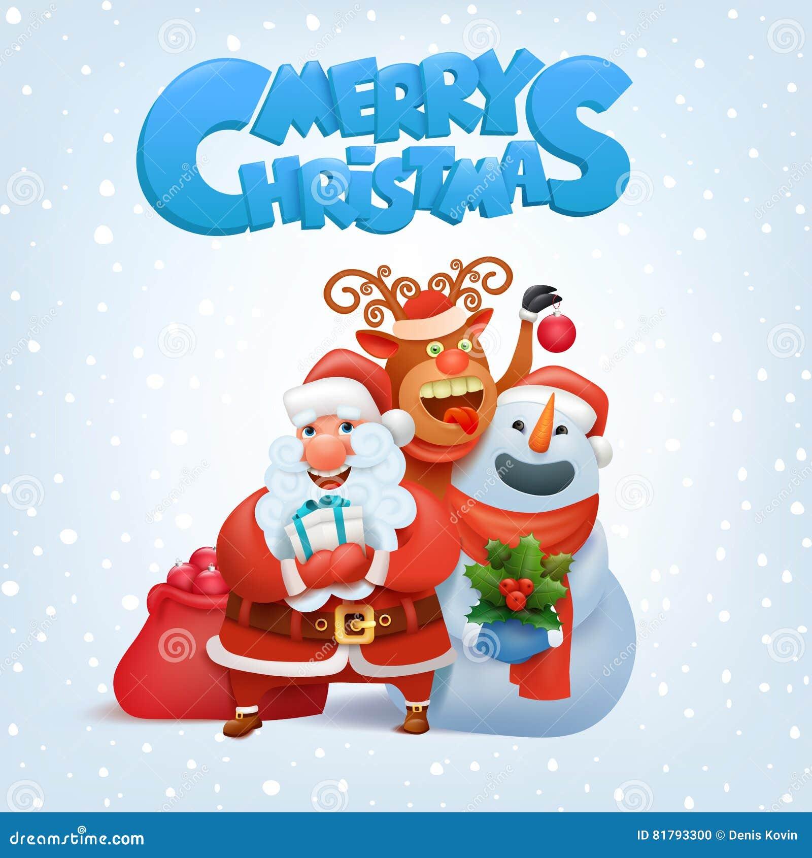 Christmas Reindeer Snowman And Santa Claus Cartoon Vector ...