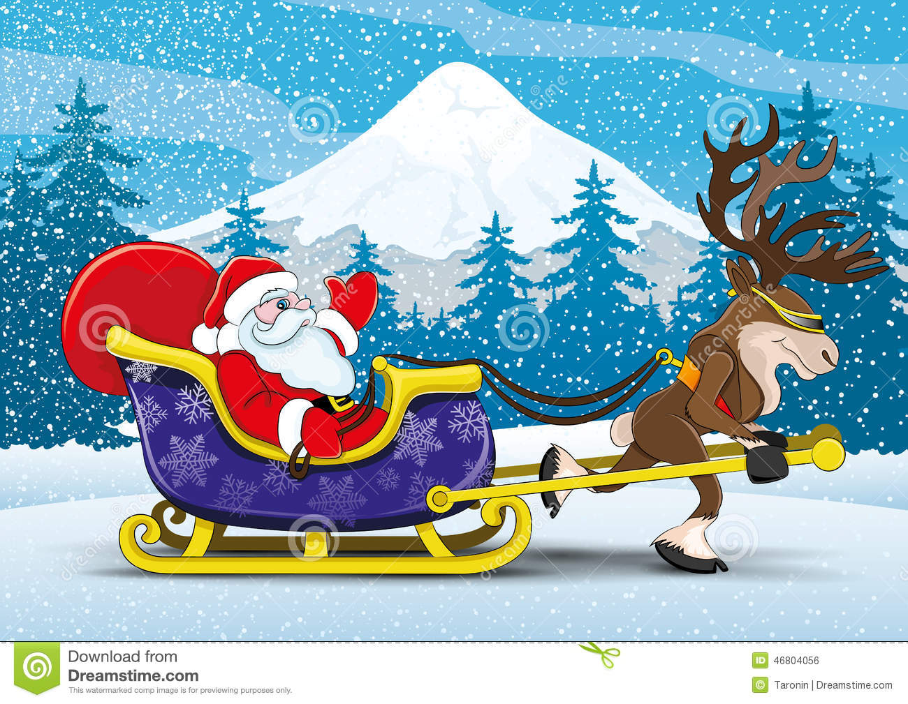 Santa Claus And Reindeer. Stock Vector - Image: 46804056