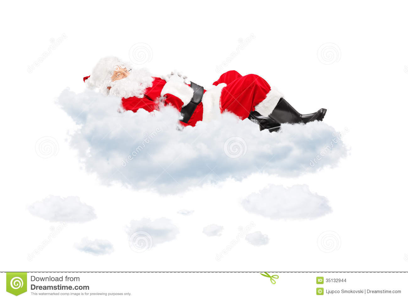 Santa Claus resting while lying on cloud isolated on white background.