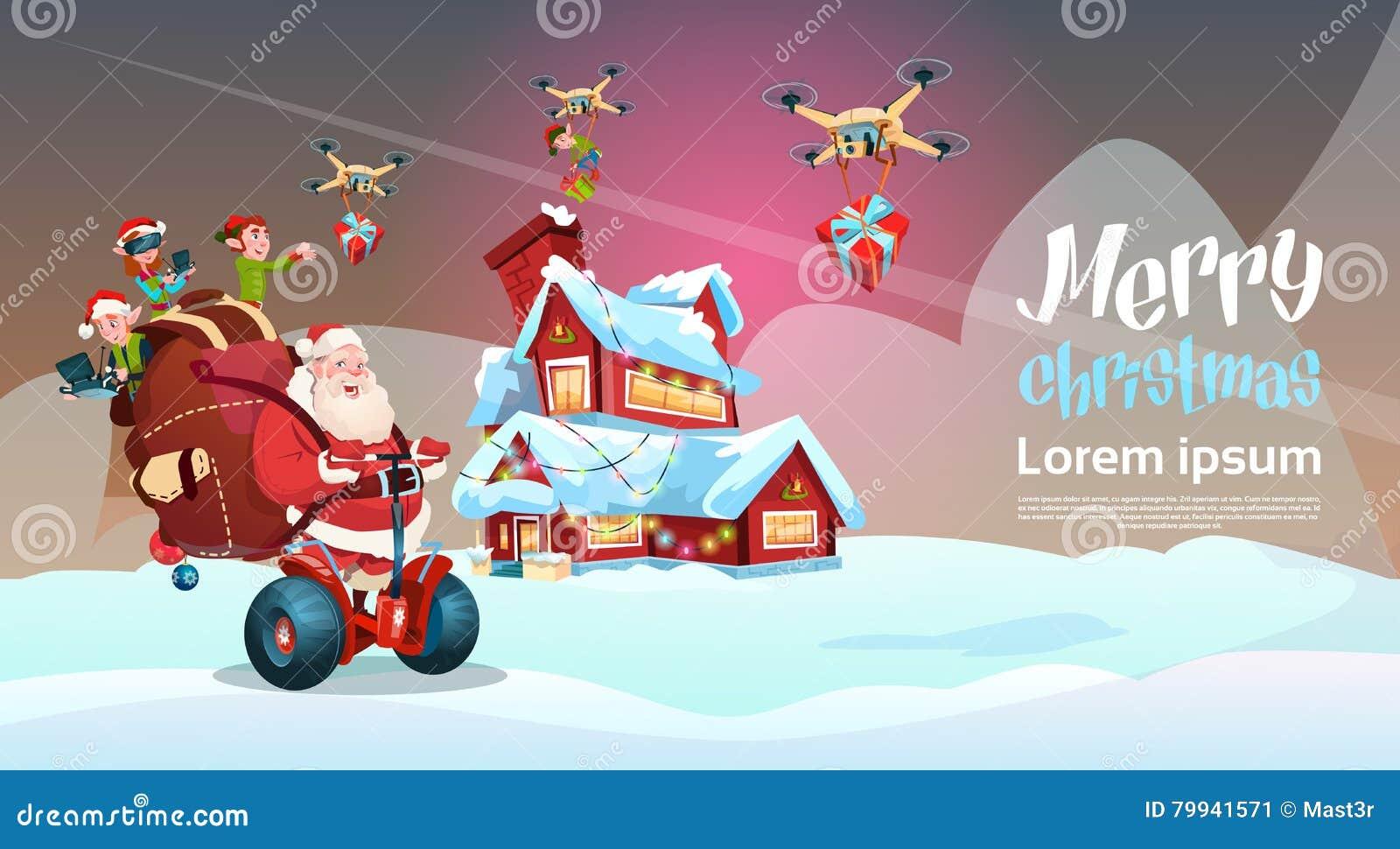 Santa Claus Ride Electric Segway Scooter jul för leverans för gåva för älvaflygsurr semestrar nytt år