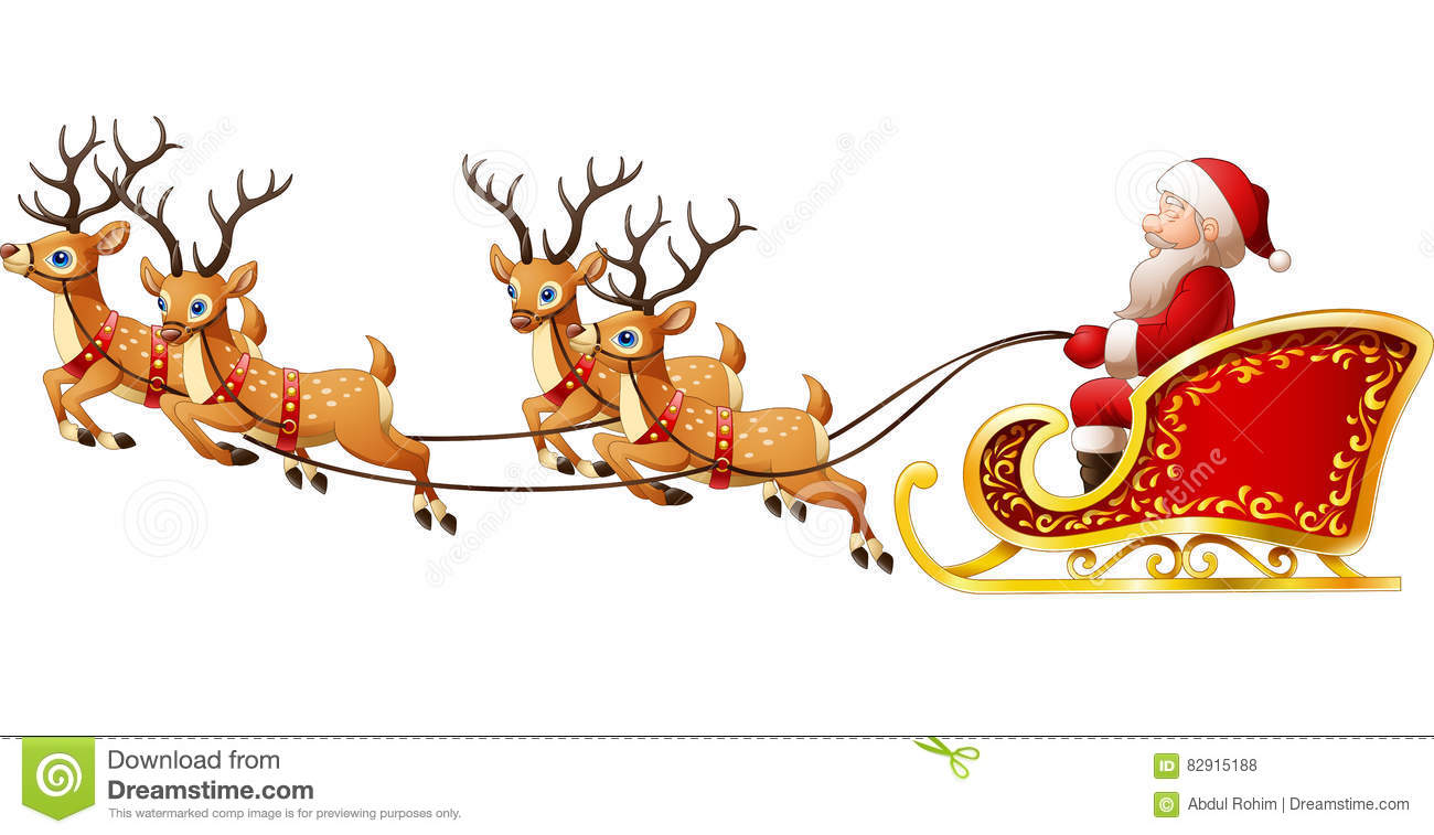 Download Santa Claus Rides Reindeer Sleigh On Christmas Stock Vector - Illustration of deer, illustration: 82915188