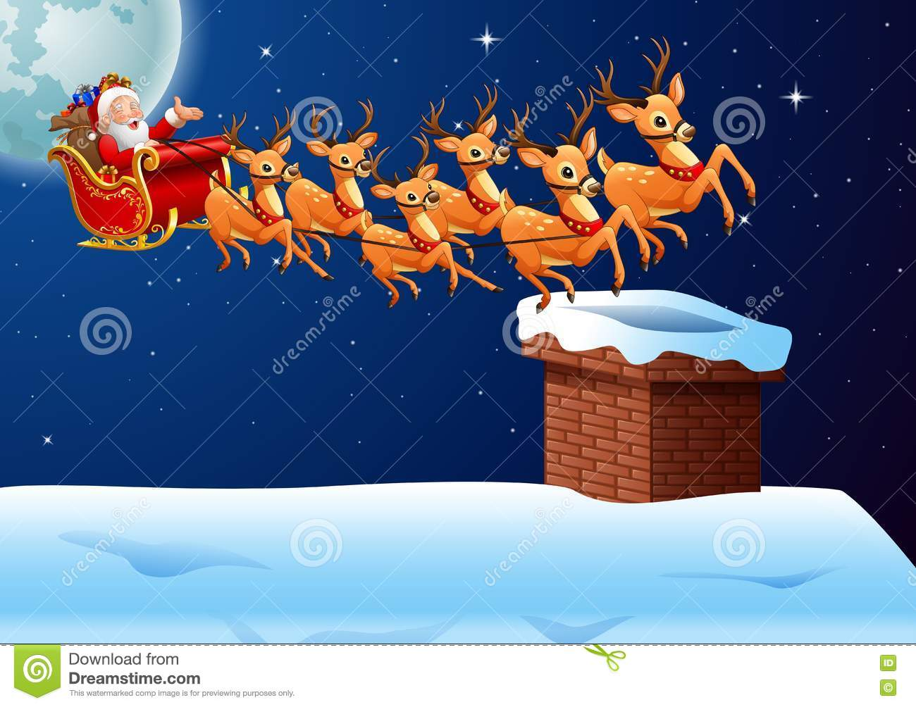 Download Santa Claus Rides Reindeer Sleigh Flying In The Sky Stock Vector - Illustration of running, cartoon: 81007122