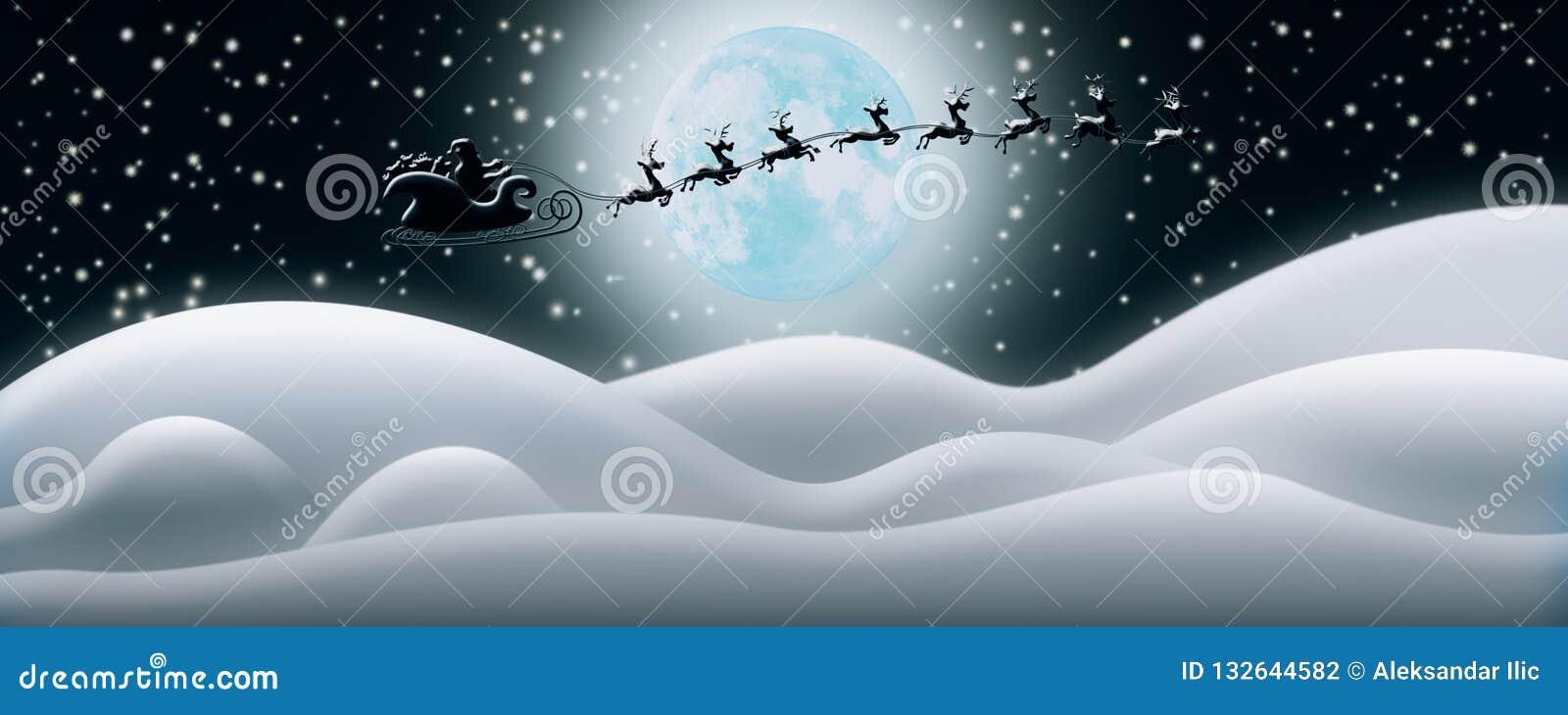 Santa Claus Rides Reindeer Sleigh in Kerstnacht over Sn