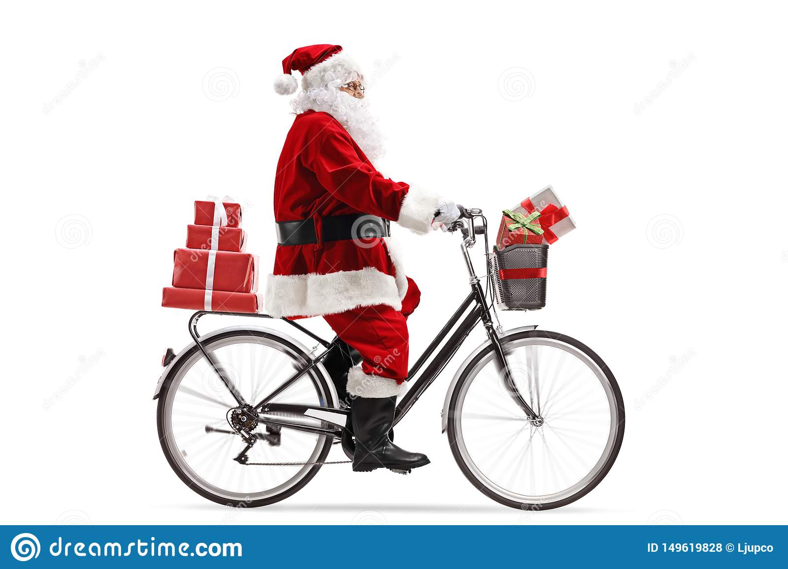 Santa Claus riding a bicycle and carrying presents