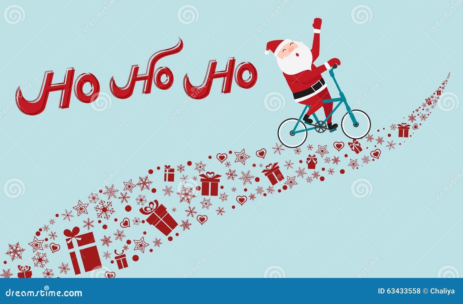Ho Ho Ho Merry Christmas.Santa Claus Riding Bicycle On Gift Way Ho Ho Ho Merry