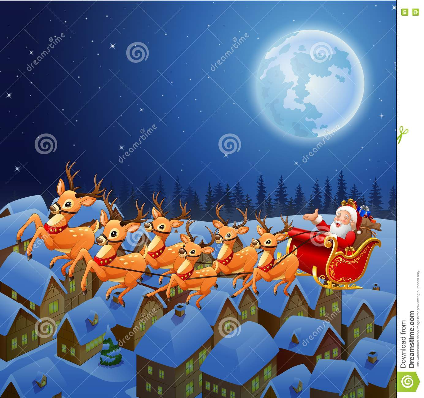 santa claus riding his reindeer sleigh flying in the sky