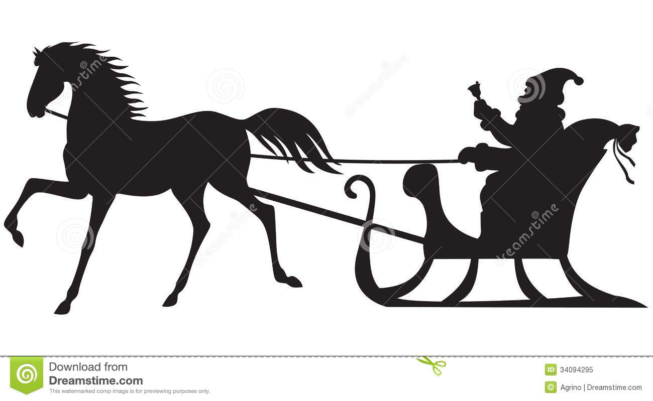 Santa Claus Riding On A Horse Sleigh Stock Vector Illustration Of