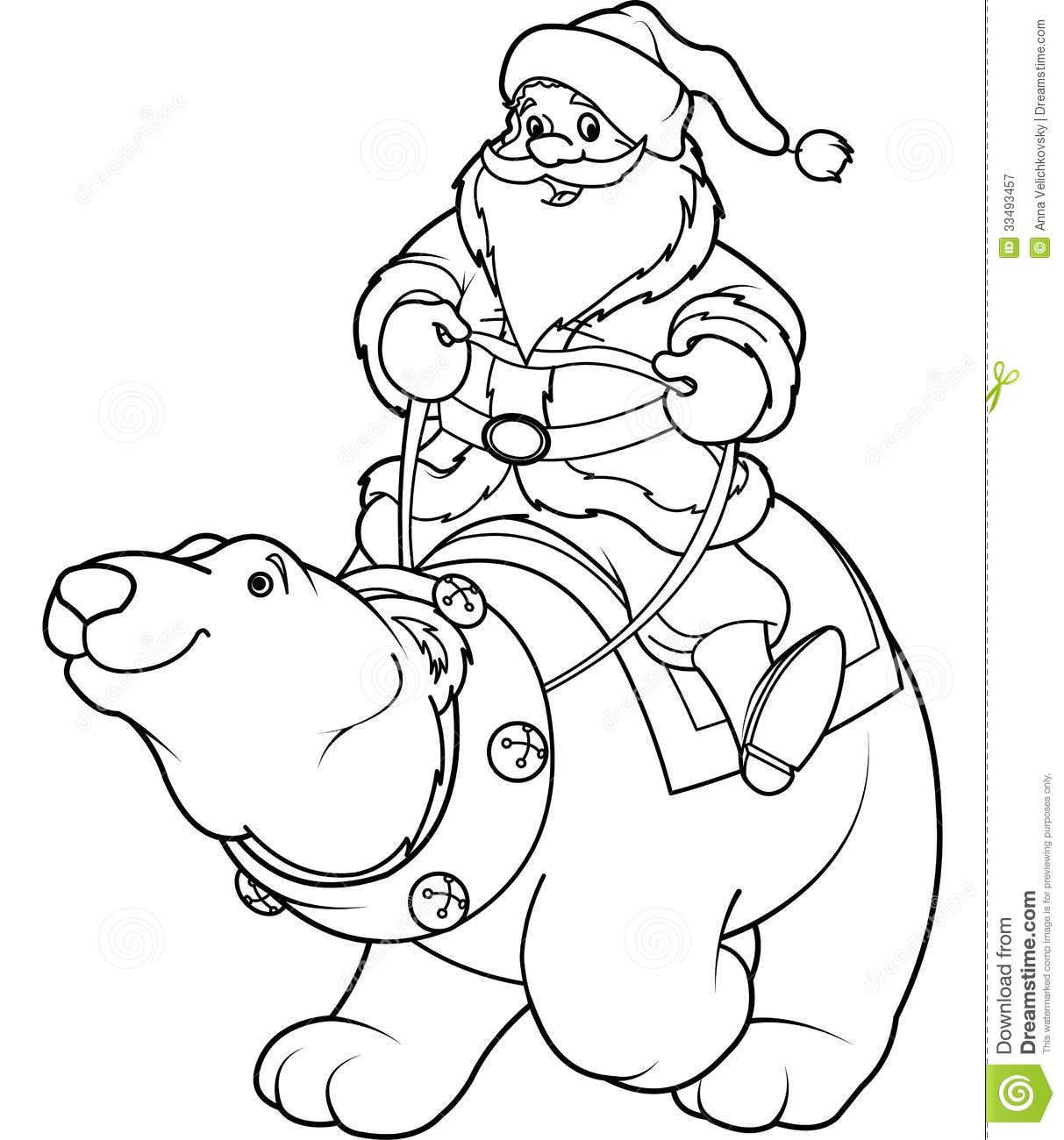 santa claus riding on polar bear coloring page royalty free stock