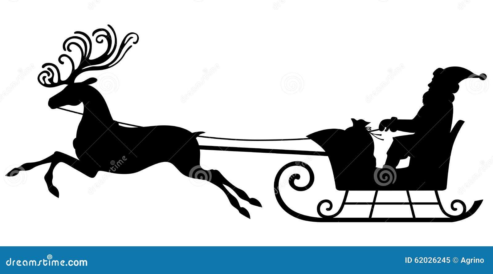 santa claus riding on a reindeer sleigh stock vector illustration