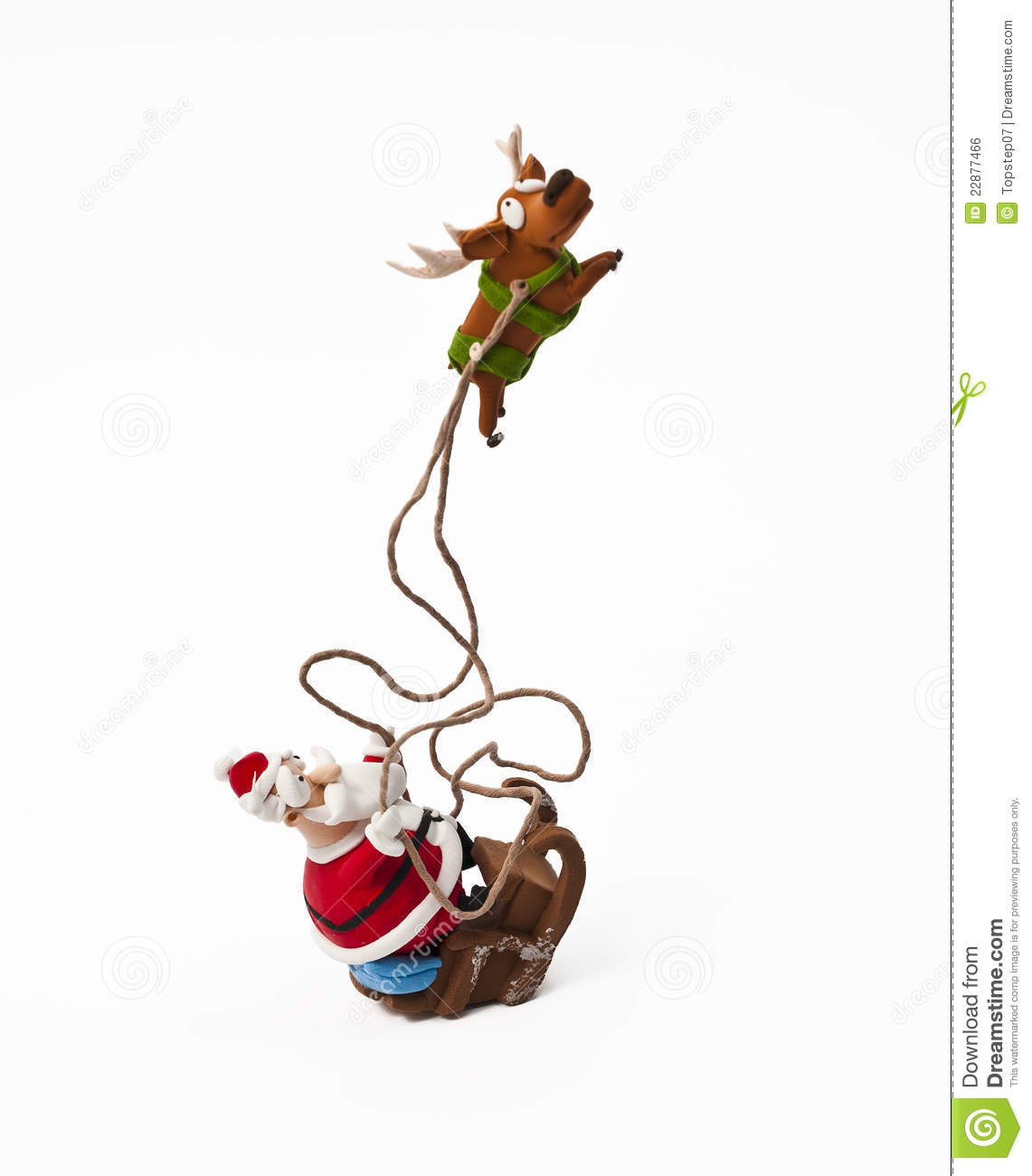 Santa Claus riding on sleigh with one reindeer isolated on white ...
