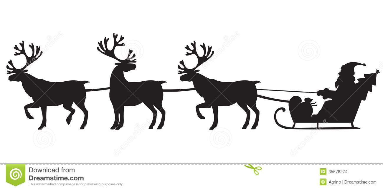 santa claus riding a sleigh with reindeers stock images image