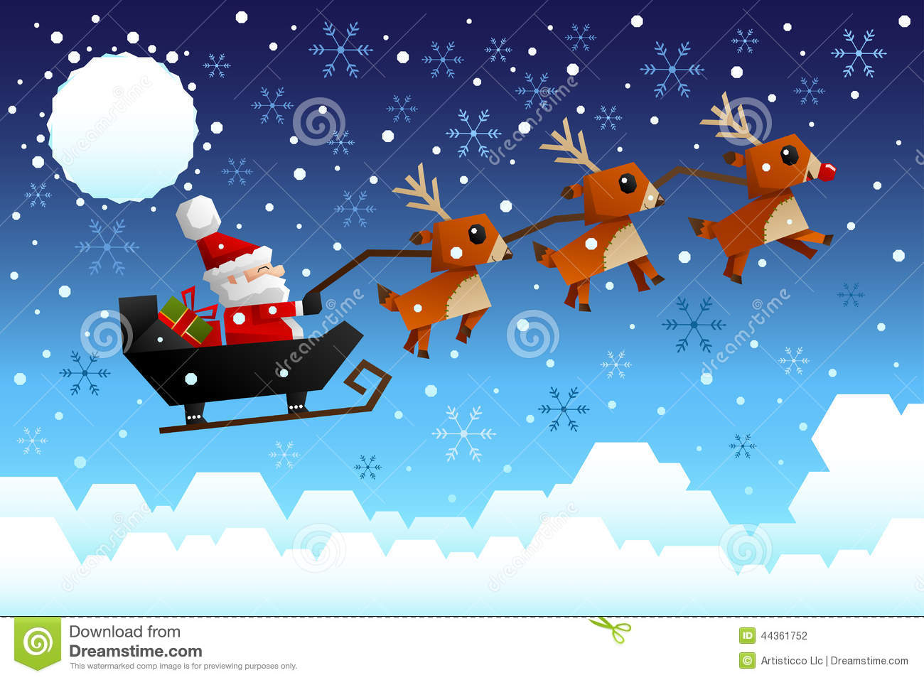 vector illustration of Santa Claus riding the sleigh pulled by ...