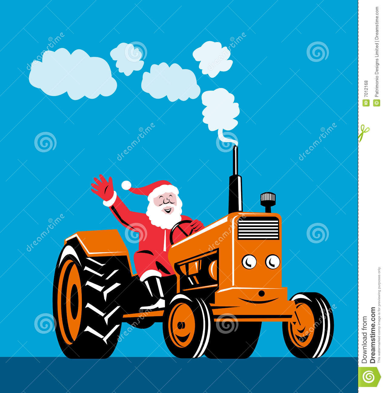 santa claus riding a tractor stock illustration