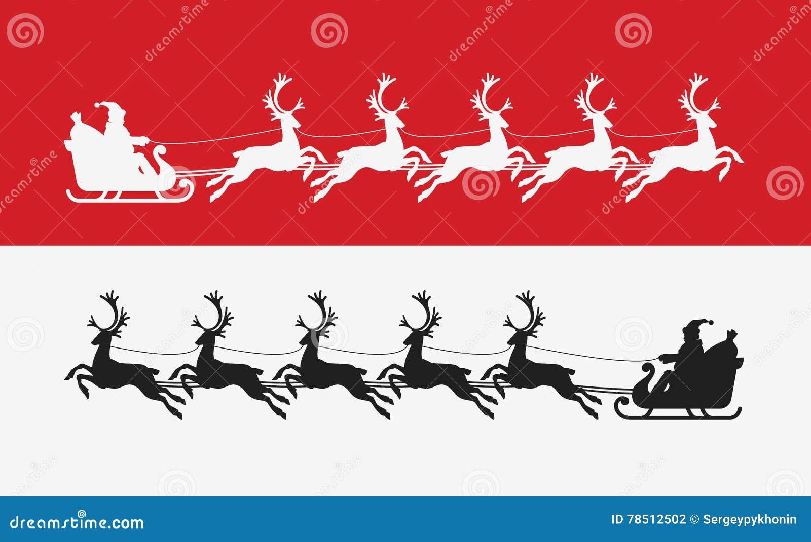 Santa Claus-ritten in ar die door rendier wordt getrokken De vrolijke Banner van Kerstmis