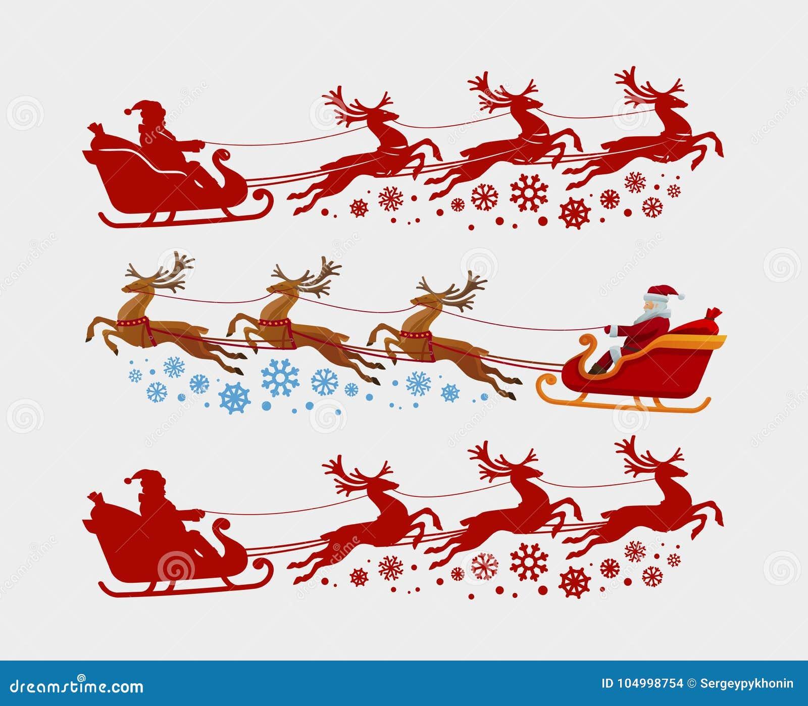 Santa Claus-ritten in ar die door rendier wordt getrokken Kerstmis, Kerstmisconcept Silhouet vectorillustratie