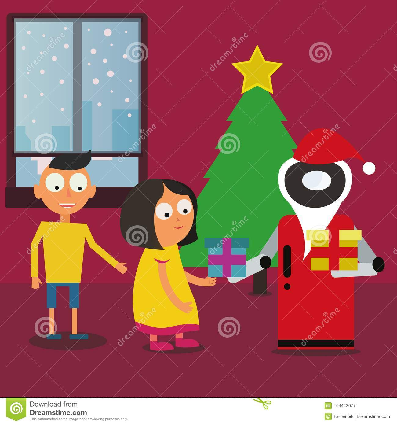 Santa Claus Robot Giving Gifts To Children Near The Christmas Tree ...