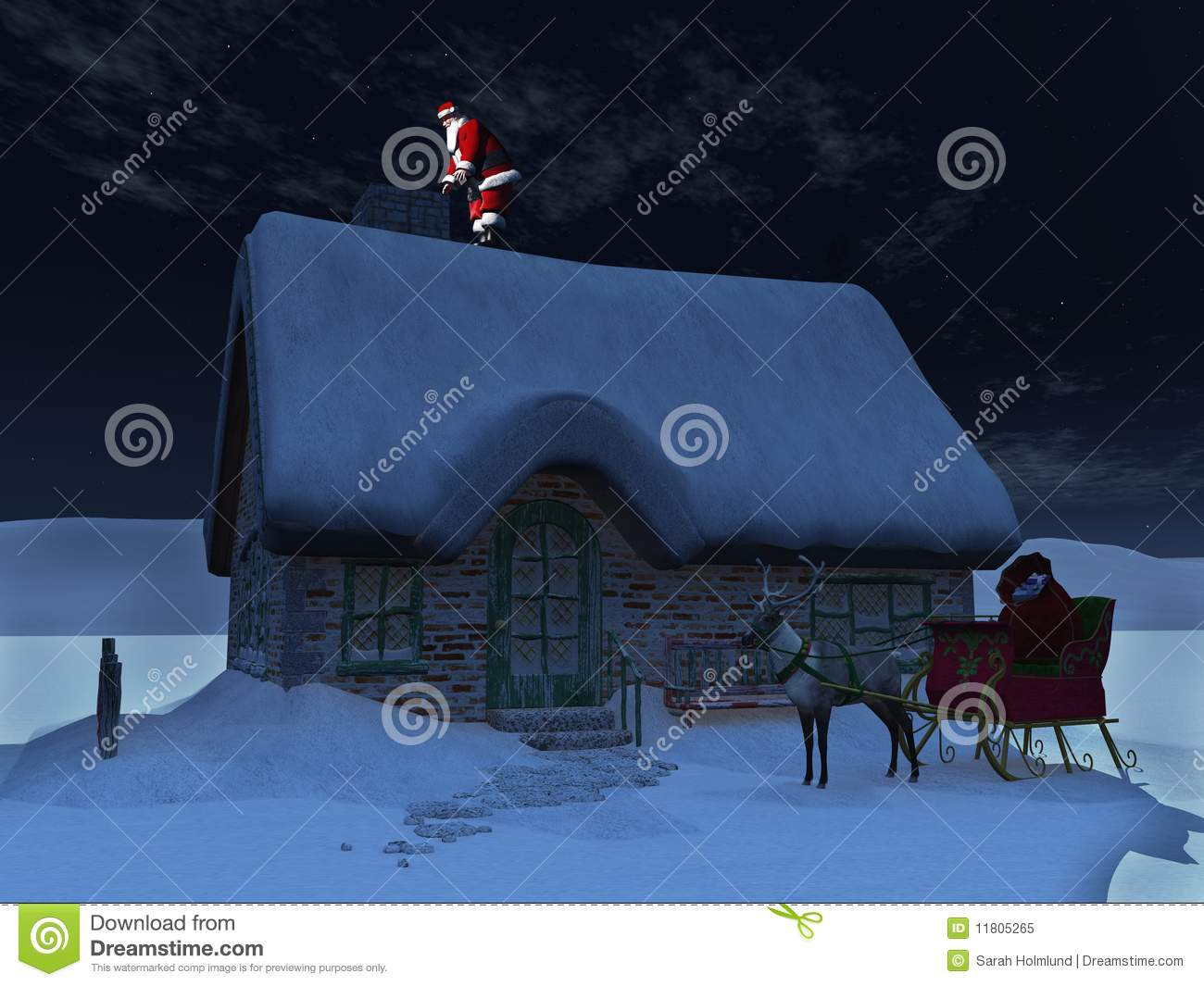 Santa Claus On The Roof Stock Illustration Image Of