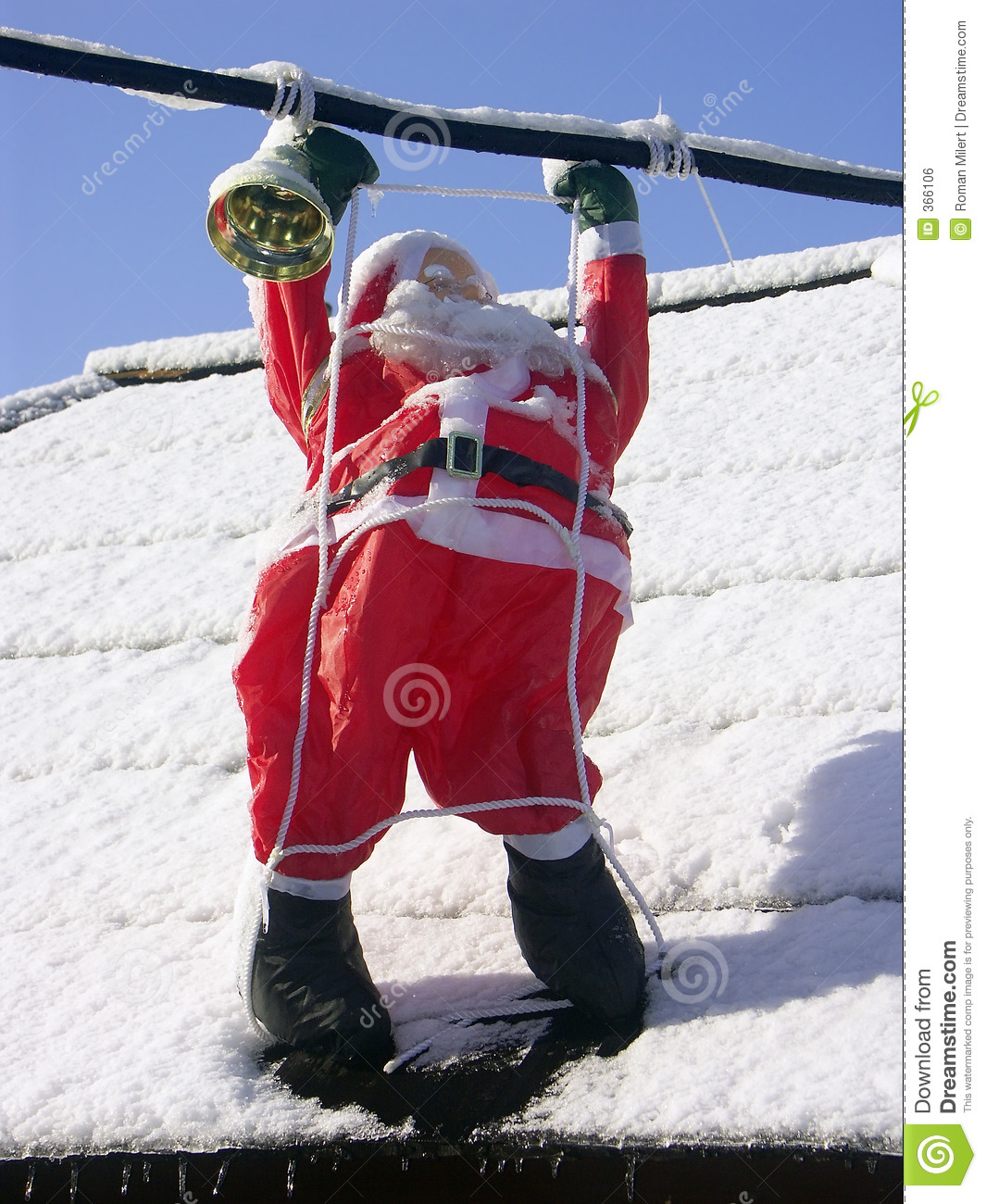 Santa Claus On A Roof Royalty Free Stock Image Image 366106