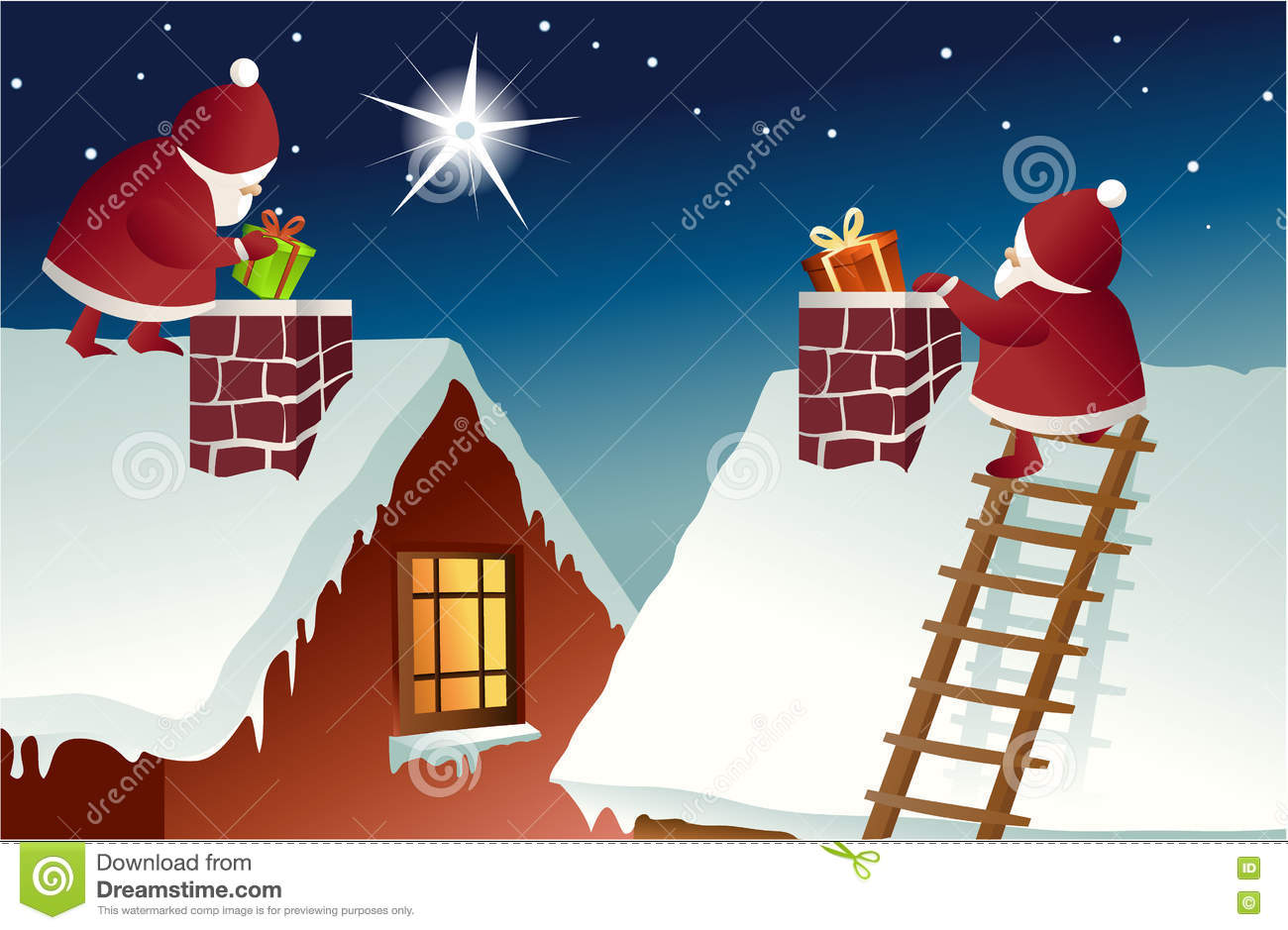 Santa Claus On Roof Stock Vector Illustration Of Xmas