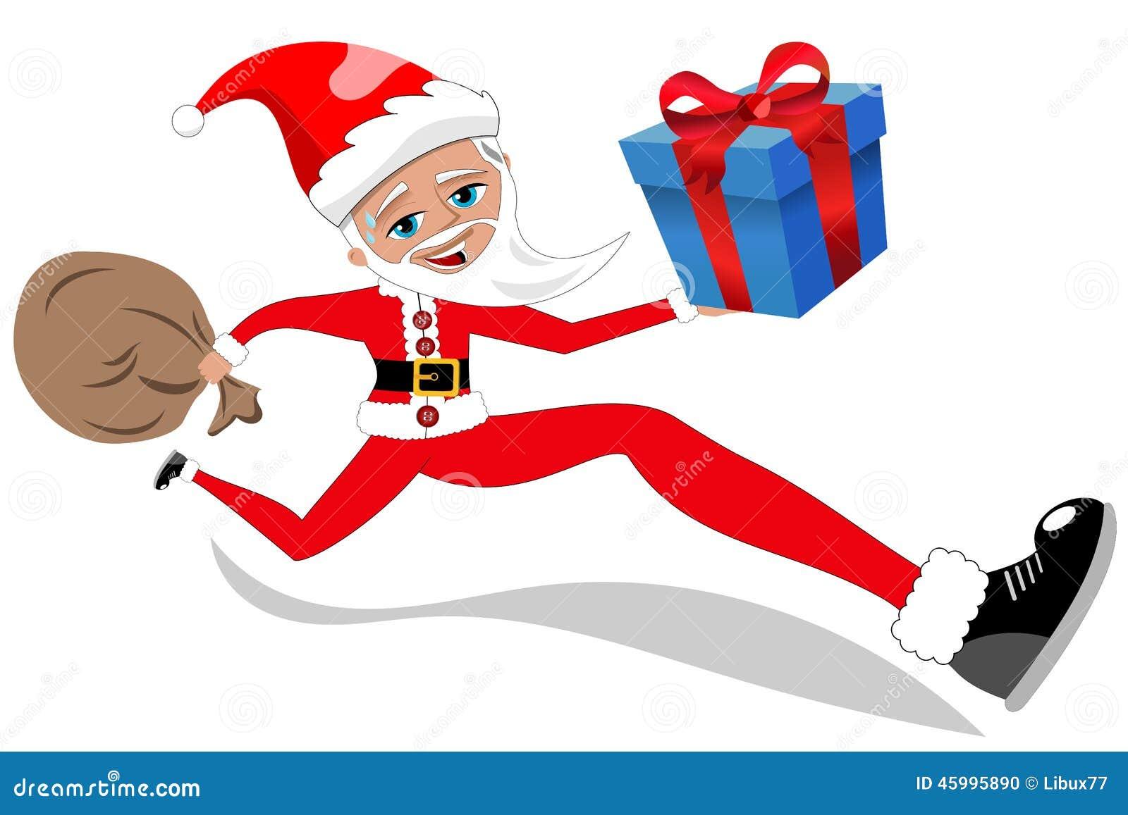 Santa Claus Running Delivering Xmas Gift aisló