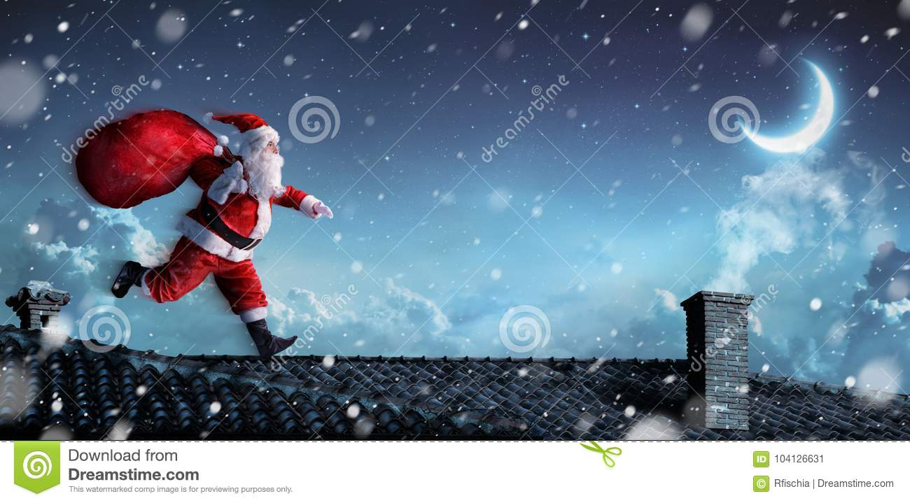 Santa Claus Running On The Rooftops
