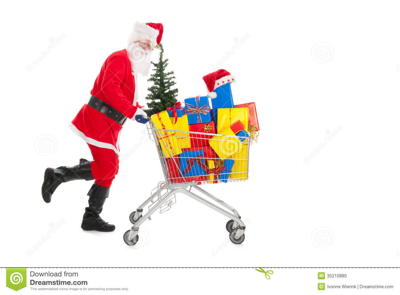 Santa Claus Running With Shopping Cart Stock Photo - Image