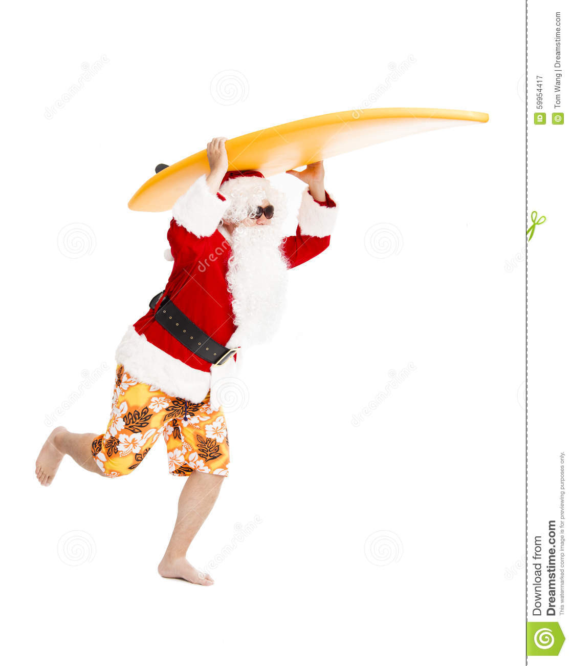 Santa Claus running with surf board