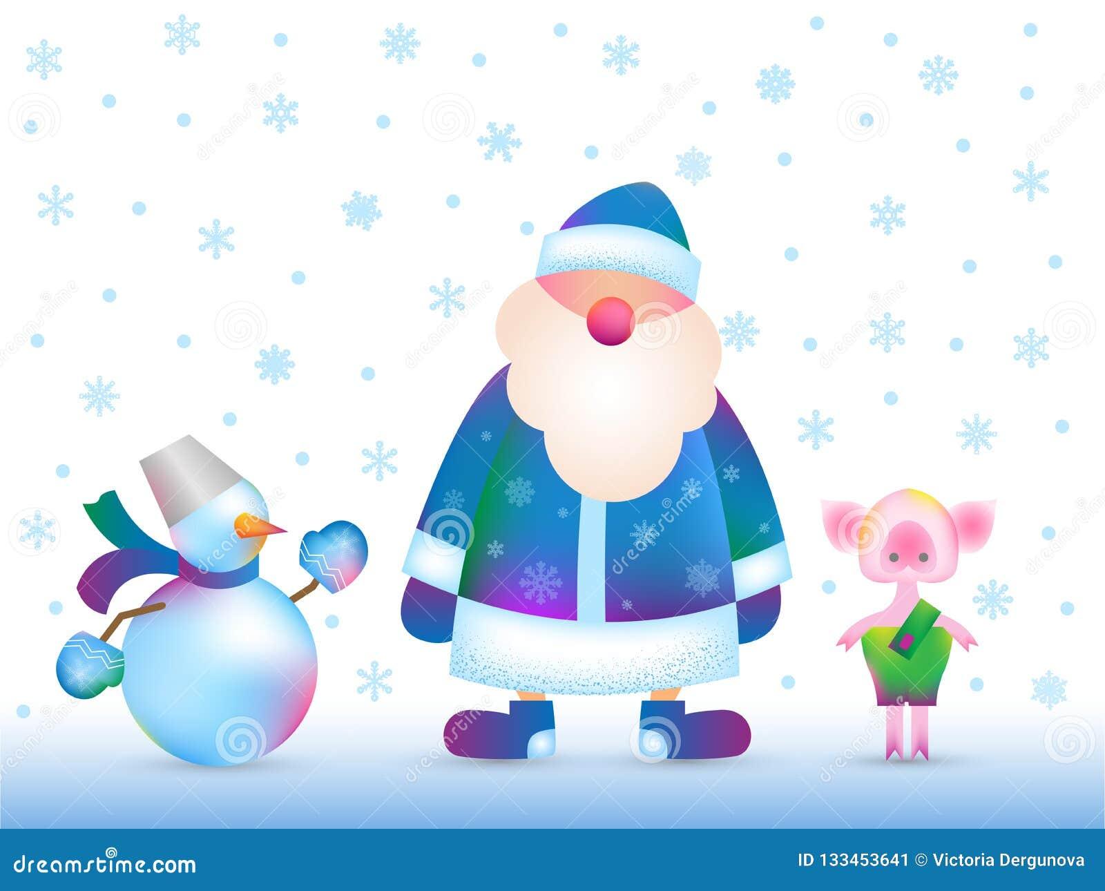 Abuelos Guarros santa claus rusa, muñeco de nieve, guarro ilustración del