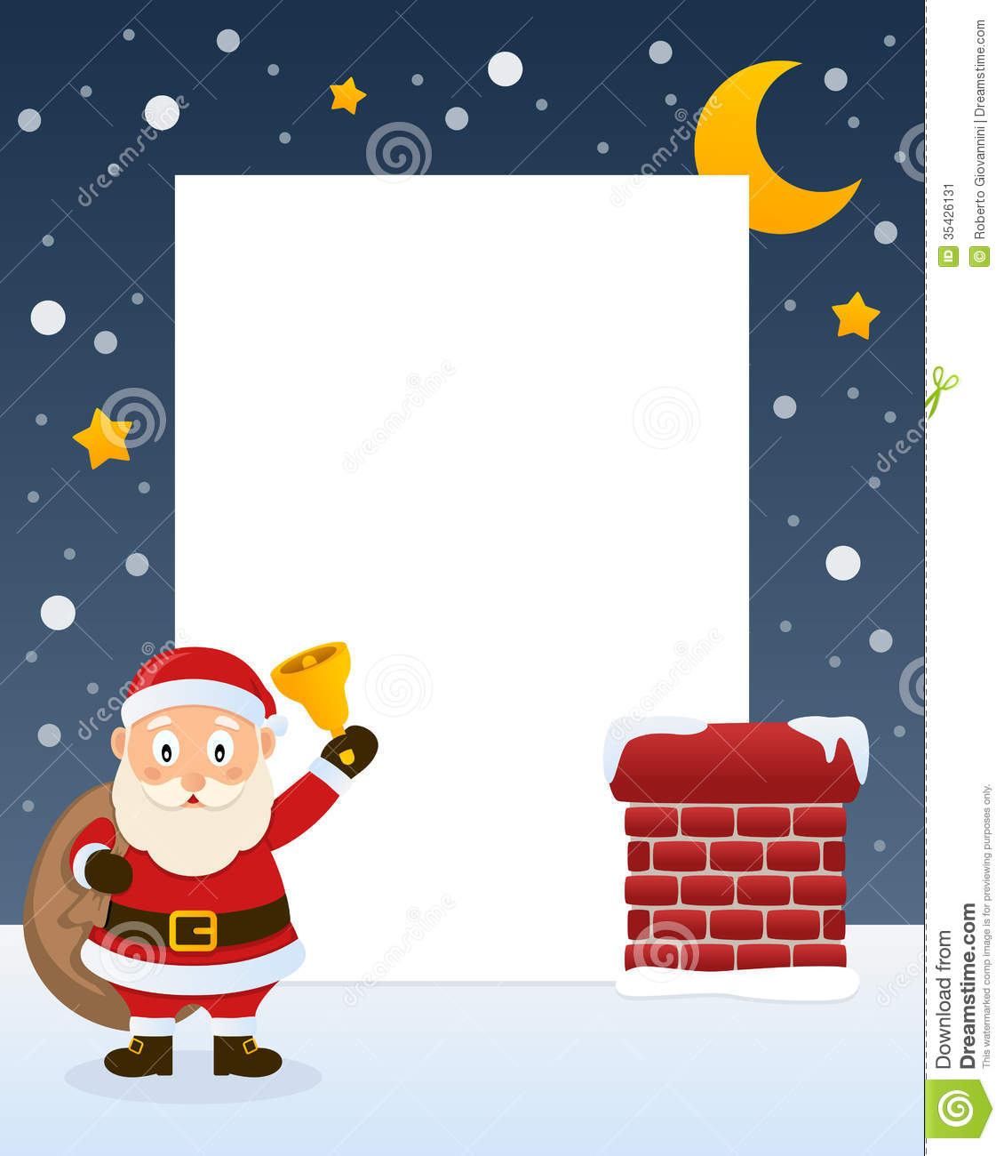 Christmas vertical photo frame with a happy cartoon Santa Claus ...