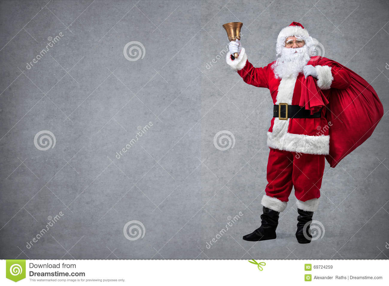 Santa claus with sack of gifts stock photo image