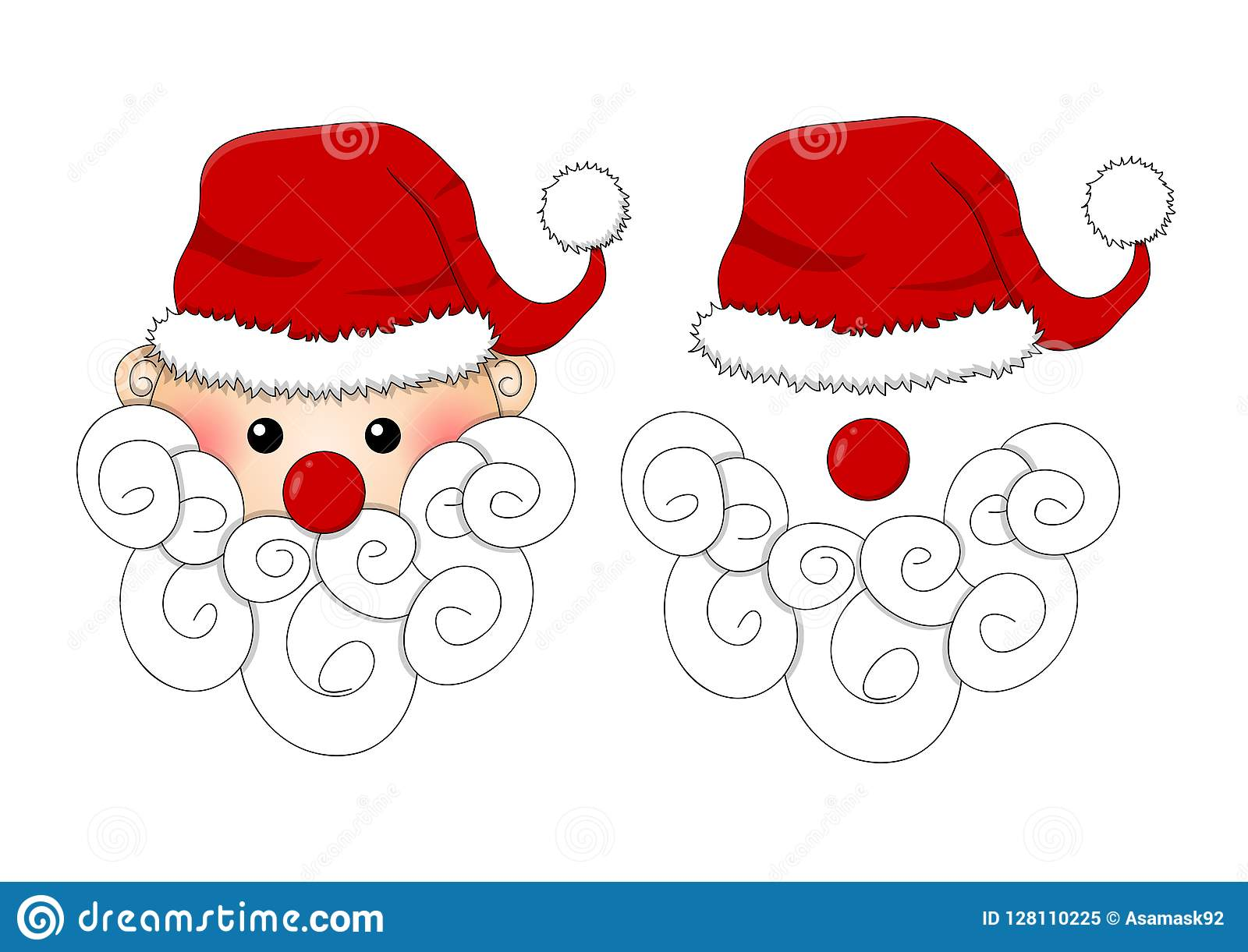 Santa Claus, Santa Hat, Red Nose and White Beard isolated on White Background. Vector Illustration