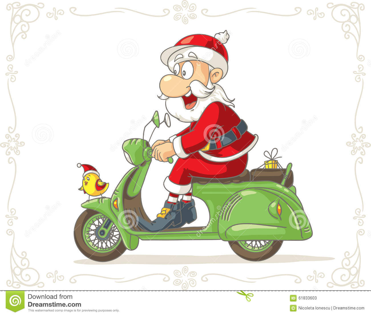 santa claus on a scooter vector cartoon stock vector. Black Bedroom Furniture Sets. Home Design Ideas