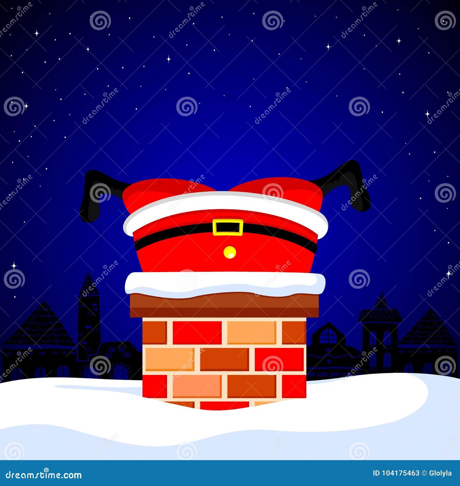 Dibujos Chimeneas De Navidad.Santa Claus Se Pego En La Chimenea En El Tejado De La Nieve