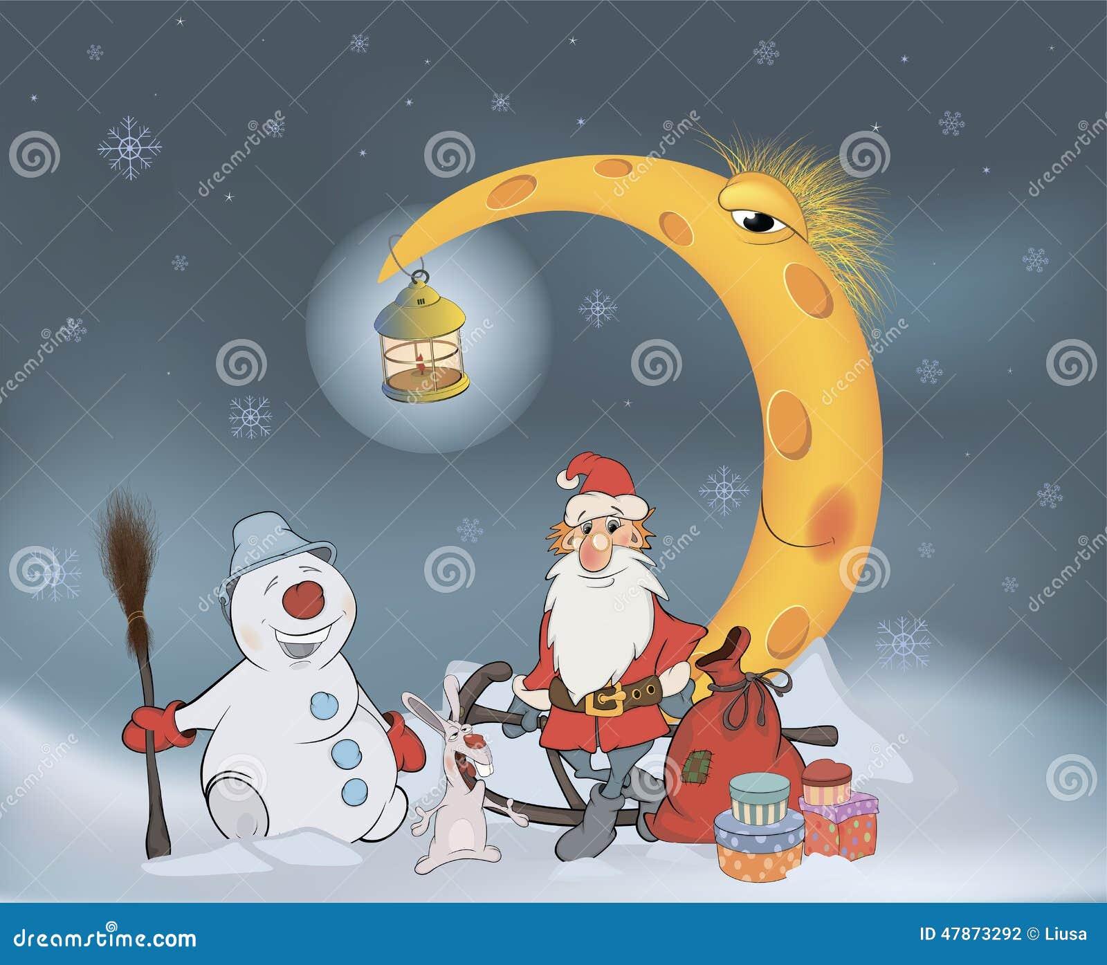 Santa Claus Seine Freunde Und Weihnachtsgeschenke Karikatur Stock ...