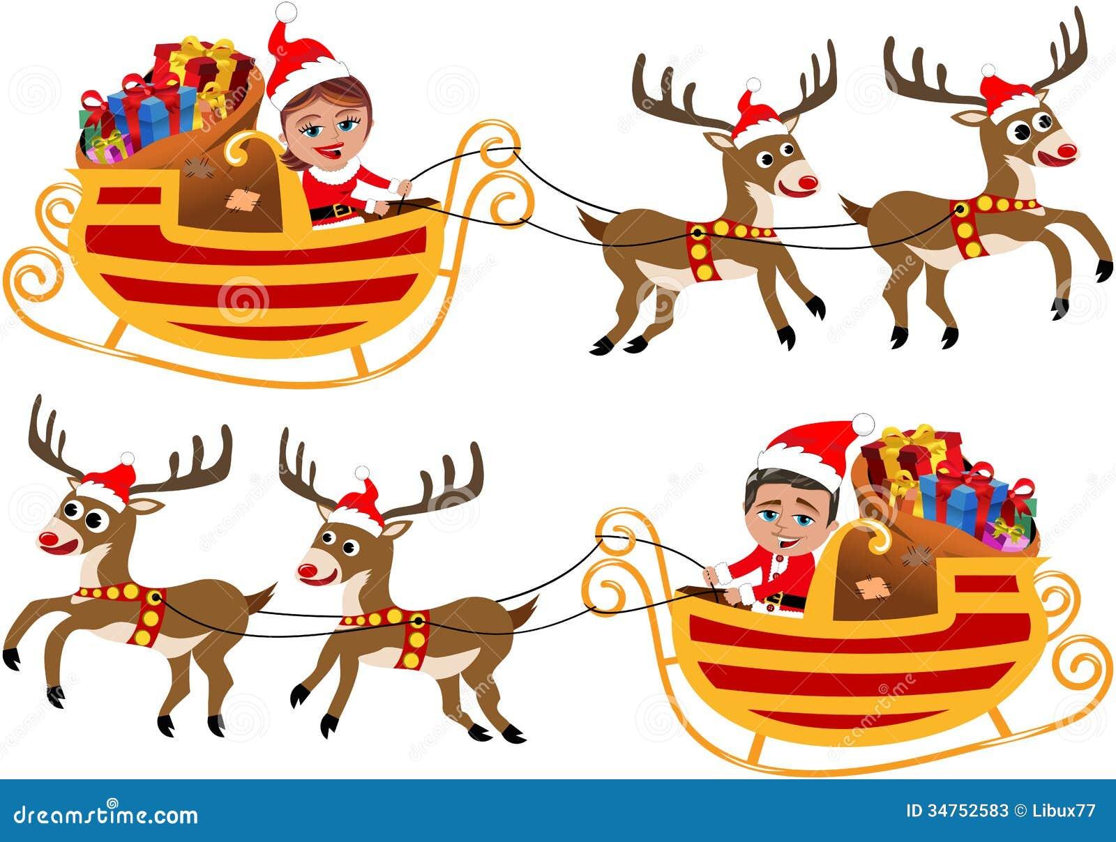Santa Claus In Seinem Weihnachtsschlitten Oder -Pferdeschlitten ...