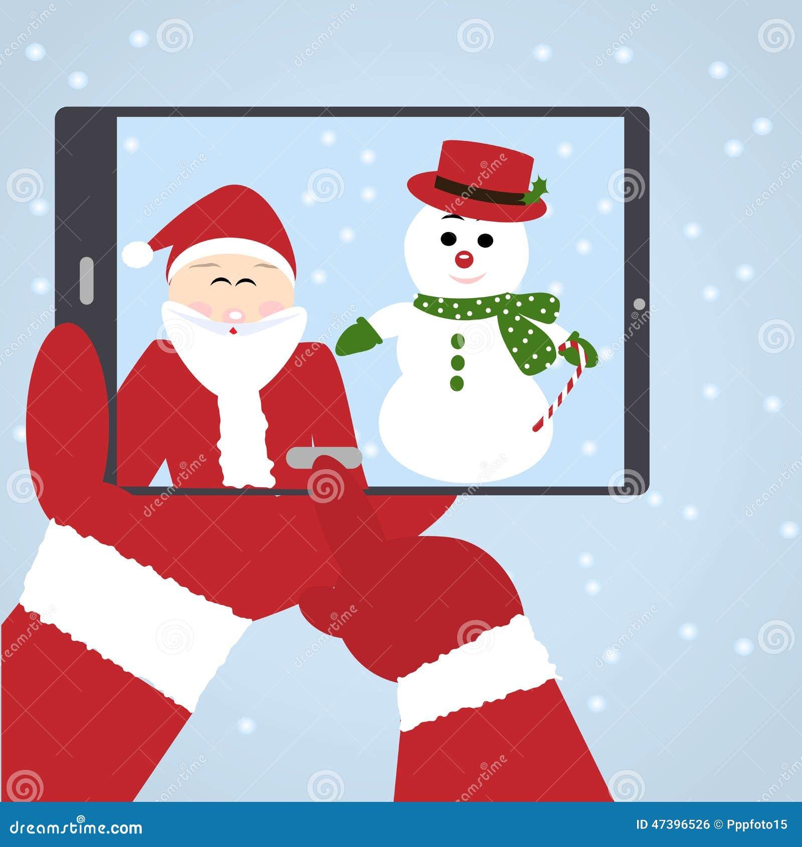 Santa Claus selfie met sneeuwman