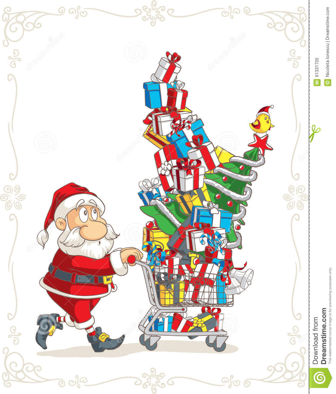 Cartoon Christmas Toys : Santa claus with shopping cart vector cartoon stock
