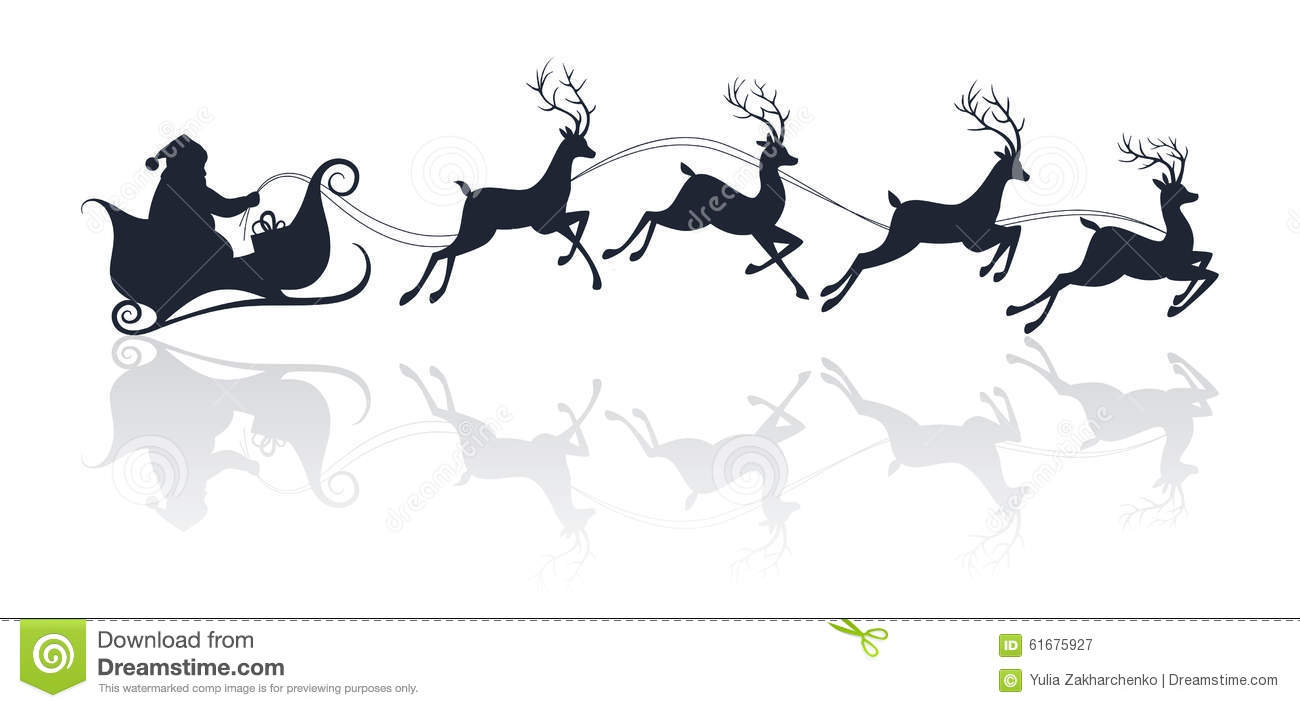 Santa Claus Silhouette Riding A Sleigh With Deers Stock ...