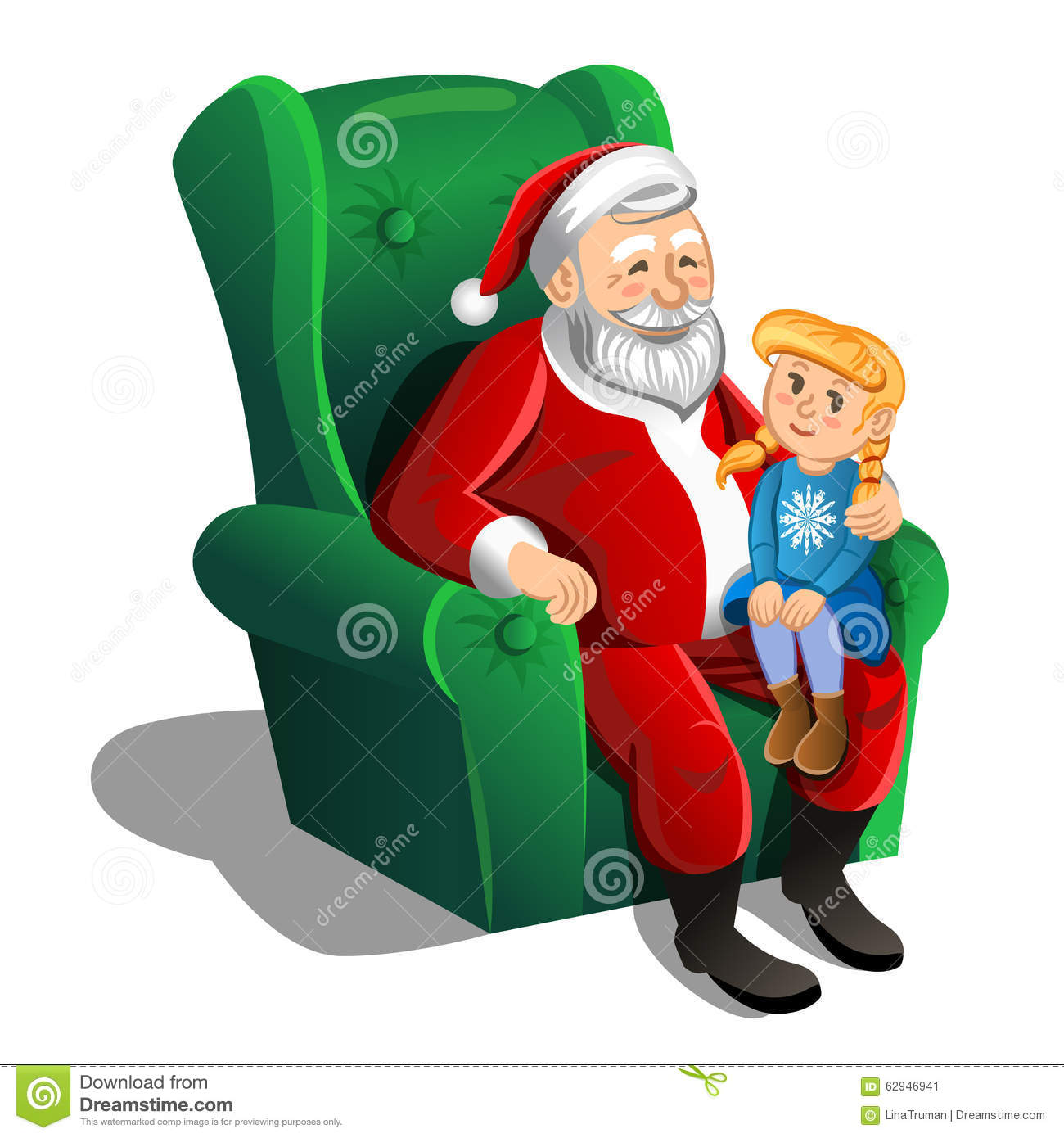 Santa Claus Sitting In Armchair With Little Girl Vector